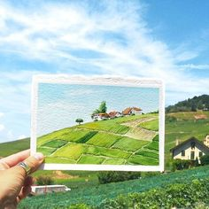 Artist Completes the Sceneries with Watercolor Paintings