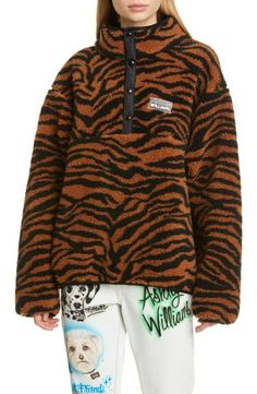 Show a wilder side while staying warm in a high-pile-fleece pullover patterned with bold tiger stripes and branded with a rubberized logo. Style Name:Ashley Williams Juju Tiger Print Fleece Jacket. Style Number: Available in stores. Nursing Pajama Set, Maternity Nursing Pajamas, Ashley Williams, Jackets For Women, Clothes For Women, Striped Blazer, Tiger Print, Womens Clothing Stores