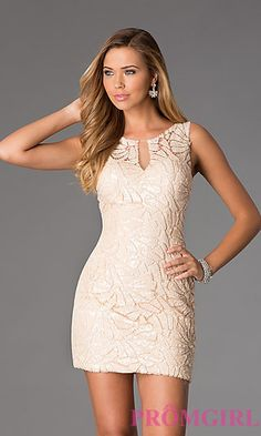 Short Sleeveless Lace Sequin Dress by Dave and Johnny at PromGirl.com  DJ-1124