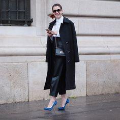 paris #pfw / look do dia alfaiataria + blue scarpin