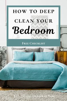 Don't delay deep cleaning your bedroom any longer, it's really pretty simple to do! Use the free checklist to help keep you on track and motivate you to finish the job. Learn how to simplify the process and tricks and tips to do the job right. #masterbedroom, #deepcleanbedroom #cleanhouse, #deepcleaning, #cleaningtips, #cleaninghacks, #cleaningchecklist Bedroom Table, Kids Bedroom, Master Bedroom, Bedroom Cleaning, Clean Bedroom, Deep Cleaning Checklist, Cleaning Hacks, Messy House, Dark Furniture