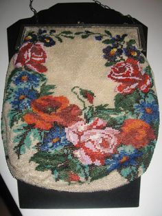 pretty.Vintage Beaded Purse Victorian Floral Sterling Silver Frame