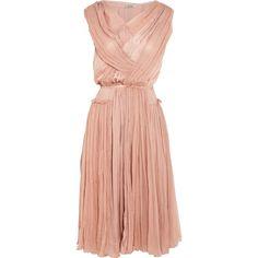 Nina Ricci Gathered silk-chiffon and washed-satin dress ($1,025) ❤ liked on Polyvore featuring dresses, vestidos, nina ricci, baby pink, baby pink dress, red ruched dress, shirred dress, rouched dress and gathered dress