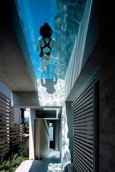 Oh wow! A swimming pool above rooms! Not sure we could ever do this but what a way to make you stop and be!