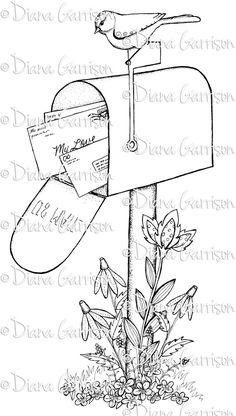 """Available on Etsy. """"Mailbox"""" Digi Digital Stamp by Diana Garrison"""