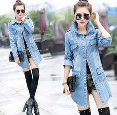 Autumn Womens Girls Washed Denim Blue Worn-Out Trench Coats Jean Jacket Overcoat