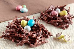 chocolate crunches (a Christmas staple in my home) topped with Easter eggs = chocolate nest! brilliant!