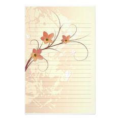 elegant orange flowers swirl design stationery design