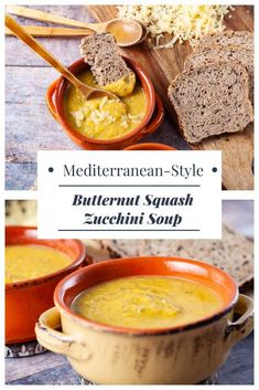 This beautiful Butternut Squash-Zucchini soup is hearty, healthy, and incredibly easy to make. Simple ingredients come nicely together to create a creamy vegetable soup that is filling enough to serve as a full meal. Offer it in cute small bowls that contrast the beautiful yellowish fall color, and you have an excellent appetizer for big family gatherings. #vegetarian #gluten-free #recipes #soup