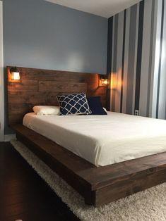 Homedecordiy diy bed frame, full bed frame, bed frame design, b Bed Designs With Storage, Bed Frame With Storage, Storage Beds, Ottoman Storage, Bedding Storage, Wooden Platform Bed, Platform Bed Frame, Floating Platform Bed, Bed Frame Design