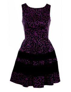 Closet Purple Printed Band Hem Skater Dress