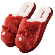 Blubi Womens Pearl Deco Fur Bedroom Slippers Cozy Home Slippers >>> See this great product.