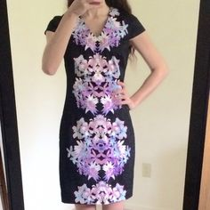 Mossimo elegant floral black work dress, new New, never worn black floral elegant work dress, size s/p, floral design at the front and back, zipper at the back mossimo Dresses