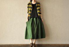 Spring Green Long Skirts linen Chic Skirts Cotton Skirts Big Pockets Women's Skirt --Women Clothing