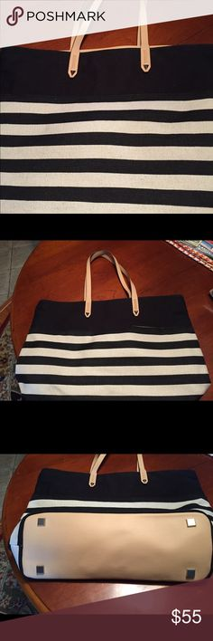 Stella & Dot black / ivory tote - EUC! Great work / travel tote!  Only used once!! Stella & Dot Bags Totes