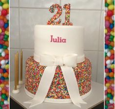 Fondant 2 Tier Sprinkles Bow 21st Birthday Cake
