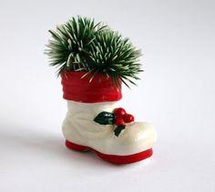 Santa Boot Ceramic Vintage Christmas Decoration