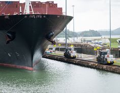 Vessel and mules - Panama Canal.
