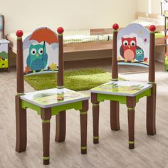 The Enchanted Woodland Set of 2 Chairs offers your children in escape into the woods and their most creative dreams. A beautiful hand sculpted, painted and carved mural of cute woodland animals. Friendly owls and friends play along the seat. Hand crafted from wood and hand painted with love, your children will rant and rave about finishing their studies on this piece!