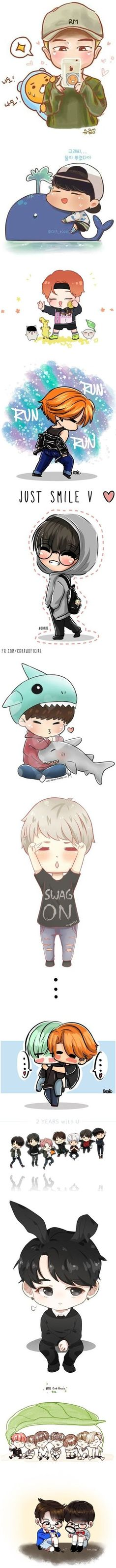 BTS Chibi by fantasy-lover- Bts E Got7, Bts And Exo, Namjoon, Taehyung, Bts Chibi, Bts Bangtan Boy, Bts Jimin, Bts Gifs, K Pop
