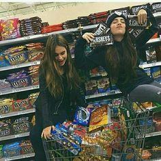 Friends, bff, best friends, supermarket and food