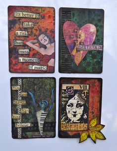 ATC Magnets using Xyron Magnet Tape, stamps from Stampers Anonymous and Paper Artsy, washi tape from Prima,collage bits, and magazing clippings