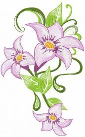 Lily free embroidery design 9. Machine embroidery design. www.embroideres.com
