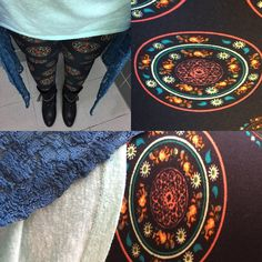 Lularoe black leggings with multi colored medallions, paired with mint Irma and blue Joy. #lularoeoutfit #lularoeleggings #lularoeirma #lularoejoy