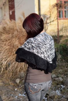 Gray and black shawl knit in warm wool and acrylic by TinyOrchidsCrochet on Etsy