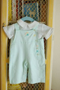 Vintage mint green baby boy outfit, 1950's - 1960's.