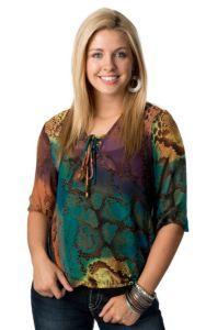 Rock 47™ by Wrangler® Women's Rainbow Python Sheer 3/4 Sleeve Fashion Top | Cavender's