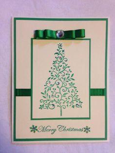 Handmade card, Christmas, Christmas tree, green, merry Christmas, snowflake
