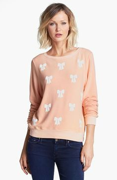 Wildfox 'Baby Bow' Fleece Sweatshirt available at #Nordstrom