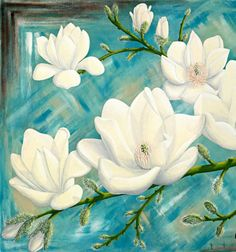 Magnolias - Limited Edition Print - Ed. 1 of 50 by Alice West Acrylic Painting Flowers, Acrylic Art, Butterfly Art, Flower Art, West Art, Grey Art, Flower Pictures, Online Art Gallery, Watercolor Art
