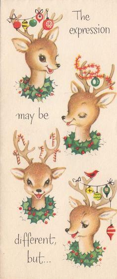 Vintage Greeting Card Christmas Reindeer Decorated Antlers Ornaments r442