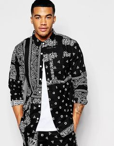 HUF SHIRT WITH ALL OVER BANDANA PRINT IN REGULAR FIT