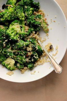 Warm Kale, Quinoa + Broccoli Salad with Cider Mustard Dressing by happyheartedkitchen #Salad #Broccoli #Quinoa #Healthy