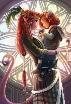 Elven mother and child  Elves elf