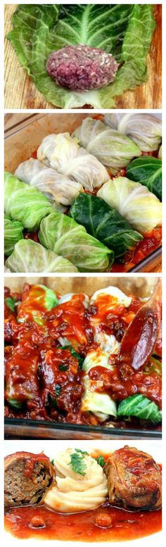 WTF is this shit? That's it, im telling Gramma! Amazing Stuffed Cabbage Rolls ~ Tender leaves of cabbage stuffed and rolled with beef, garlic, onion and rice, simmered in a rich tomato sauce. Meat Recipes, Dinner Recipes, Cooking Recipes, Healthy Recipes, Recipies, Beef Dishes, Food Dishes, Main Dishes, Ground Beef Recipes