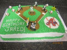 Baseball cake for Dylan's birthday? Baseball Field Cake, Baseball Theme Cakes, Baseball Birthday Cakes, Birthday Pins, Baseball Party, 8th Birthday, Birthday Parties, Birthday Ideas, Bithday Cake