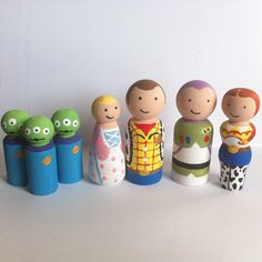 CALEB IS GETTING THESE FOR HIS BDAY! THANK YOU AUNTIE SHANNY Toy Story peg doll set (7 pegs)  Free Shipping by HouseofPegs, $35.00