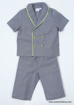 Samuel classic pajama has cool vintage touch with its double breasted front and is still modern with its neon piping and buttons.