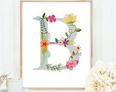Printable art Letter G Monogram Floral Flower by KathyPantonArt
