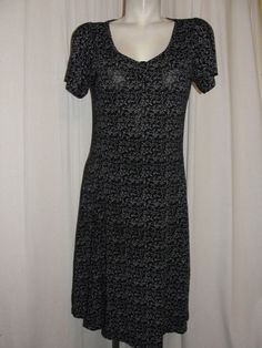 BAHANE Collection Juniors Black Purple Floral Liquid Knit Short Sleeve Dress XXL #BAHANECollection #Shift #WeartoWork