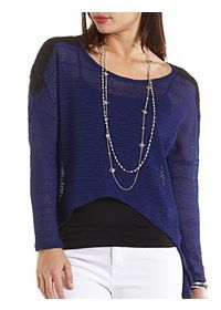 High-Low Crochet Top with Slit