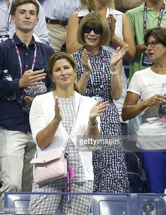 Mirka Federer, Roger Federer's wife and Anna Wintour attend Federer's match during day four of the 2015 US Open at USTA Billie Jean King National Tennis Center on September 3, 2015 in the Flushing neighborhood of the Queens borough of New York City.