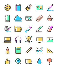 This is a complete pack that includes an amazing variety of Colored Line Icons.The set contains 30 colored line icons in pastel tones for your next design project.  The icons come in vector format (SVG) and PNGs of various sizes.  PNG icons are in 34, 64, 128, 255 and 512 pixels.