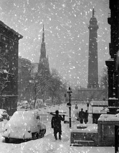 Mount Vernon Winter 1950 Baltimore City, Baltimore Maryland, Old Pictures, Old Photos, Vintage Photographs, Vintage Photos, City Hospital, Mount Vernon, Winter Photos