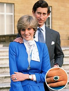 Image detail of her ring - Princess Diana and Prince Charles in1981