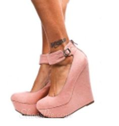 hotness and more Elegant Pink PU Ankle Strap Wedge Heels